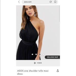 One Shoulder Tulle Maxi Dress